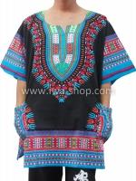 เสื้อลายชนเผ่า เสื้อลายจังโก้ สีผสมดำฟ้า