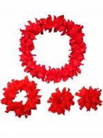 ชุดสร้อยฮาวาย พวงมาลัยดอกไม้แดง