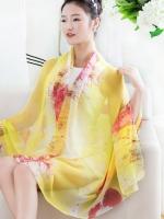 ผ้าพันคอ ผ้าคลุมไหล่ชุดเดรส ชีฟองเหลืองต้นไม้