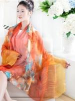 ผ้าพันคอ ผ้าคลุมไหล่ชุดเดรส ชีฟองส้มดอกไม้