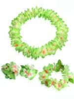 ชุดพวงมาลัยฮาวาย พวงมาลัยดอกไม้แฟนซี เขียว