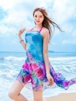 ผ้าชายทะเล ผ้าชายหาด ชีฟองน้ำเงินผีเสื้อดอกไม้
