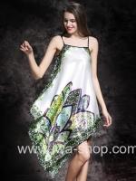 ชุดนอนผ้าซาติน ลายดอกไม้สีขาว