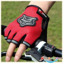 ถุงมือตัดนิ้ว สีแดง