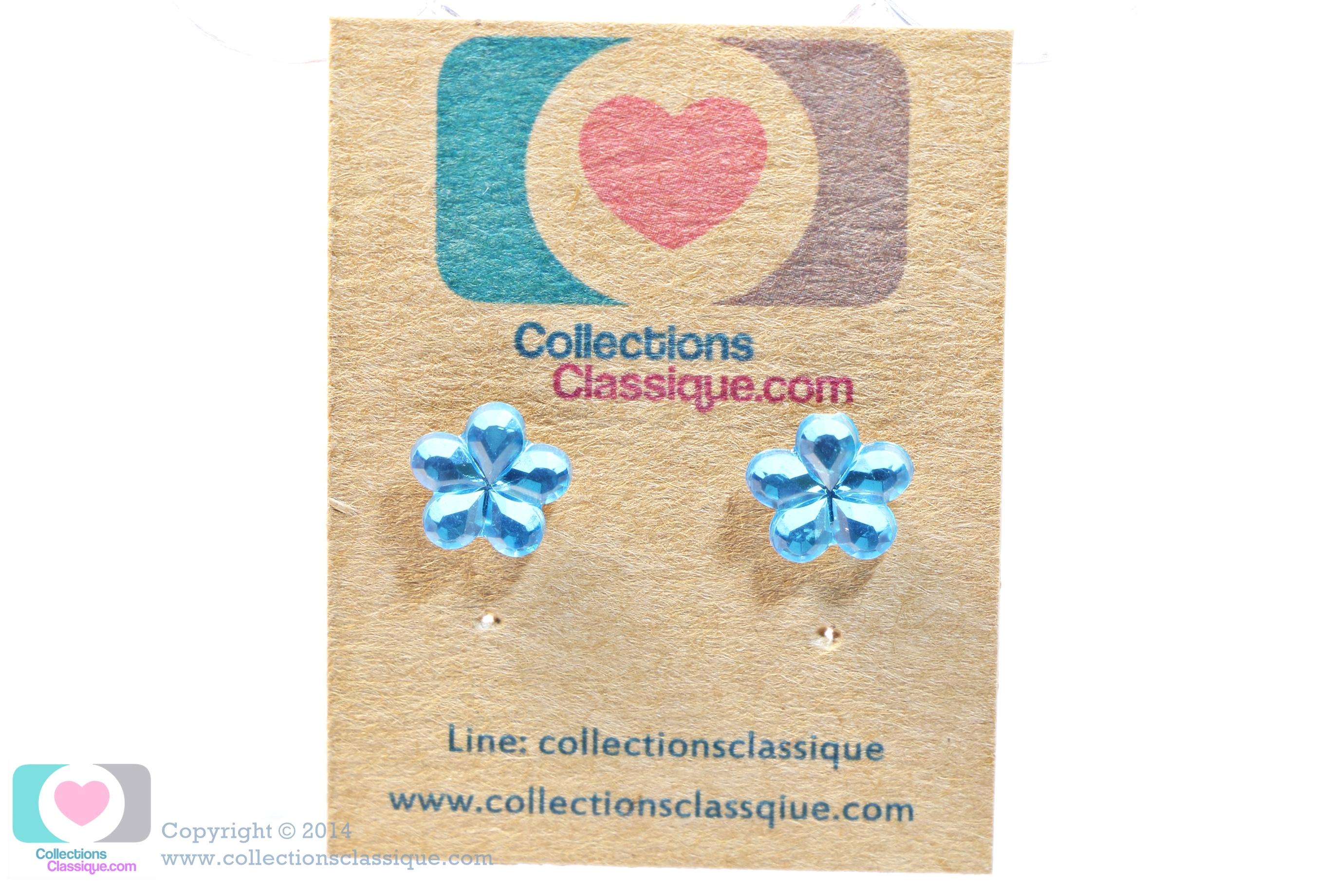 ต่างหูพลาสติก,ต่างหูก้านพลาสติก,ต่างหูเด็ก E29040 The Blue Flowers ต่างหูแฟชั่นราคาถูก