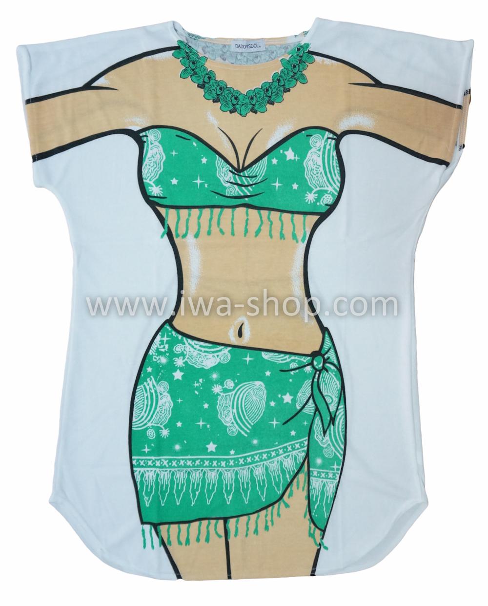 เสื้อสกรีนบิกินี่ ลายชุดฮาวายเขียว