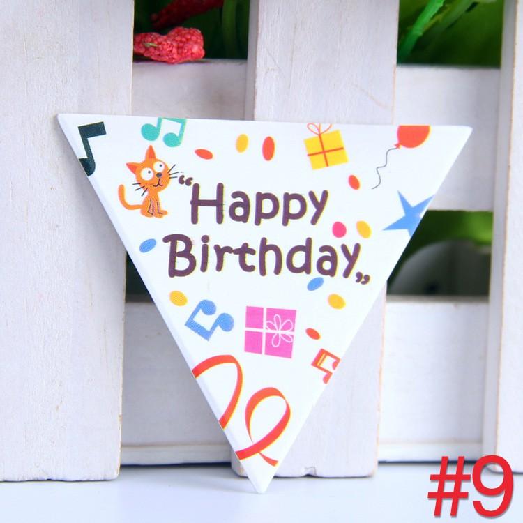 ป้าย Happy birthday สามเหลี่ยม แบบ 9 (10 แผ่น )