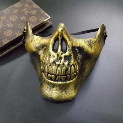 หน้ากาก กะโหลกครึ่งหน้า Cacique Skull สีทอง