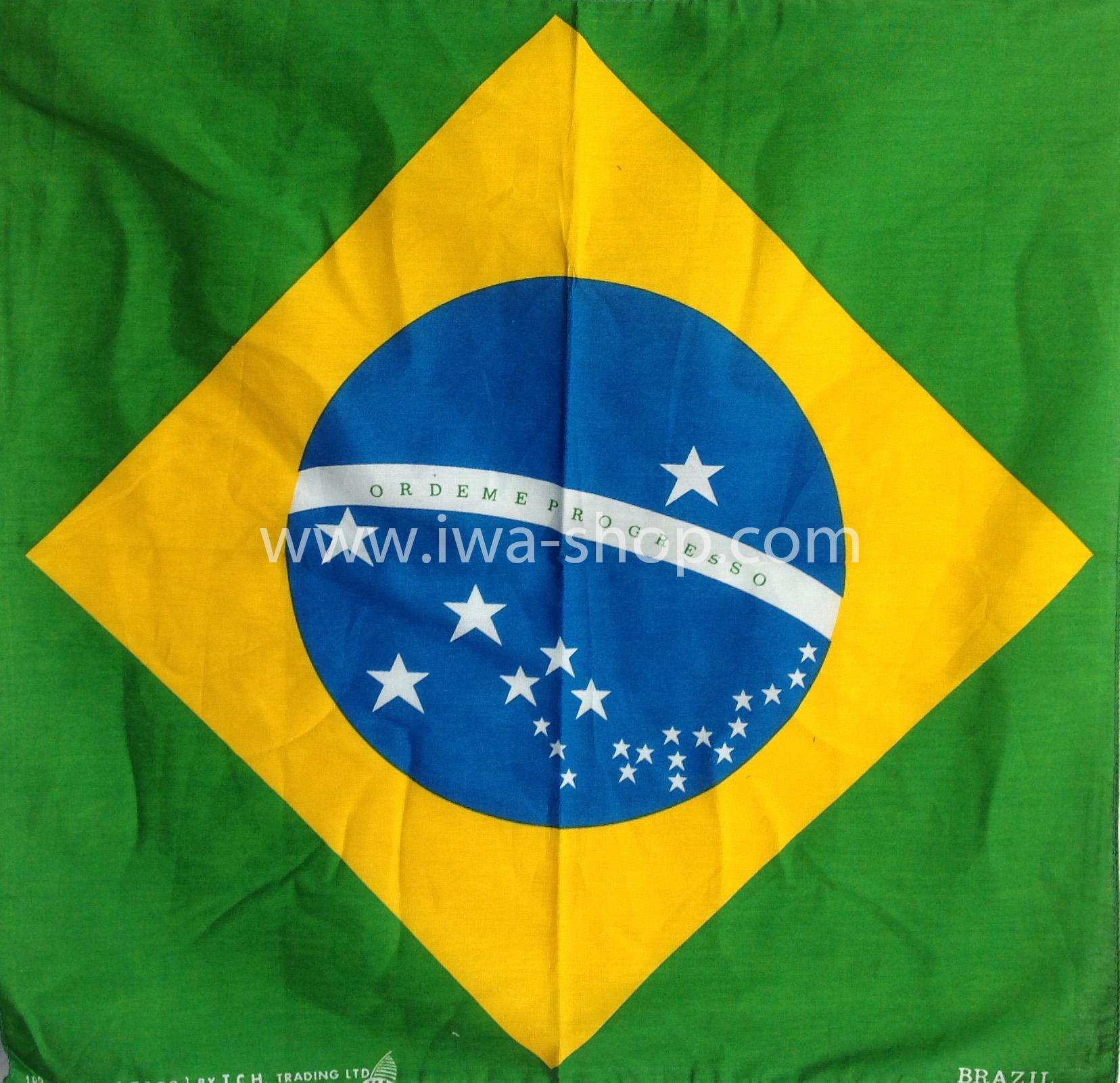 ผ้าเช็ดหน้า ผ้าพันคอ ลายธงบราซิล