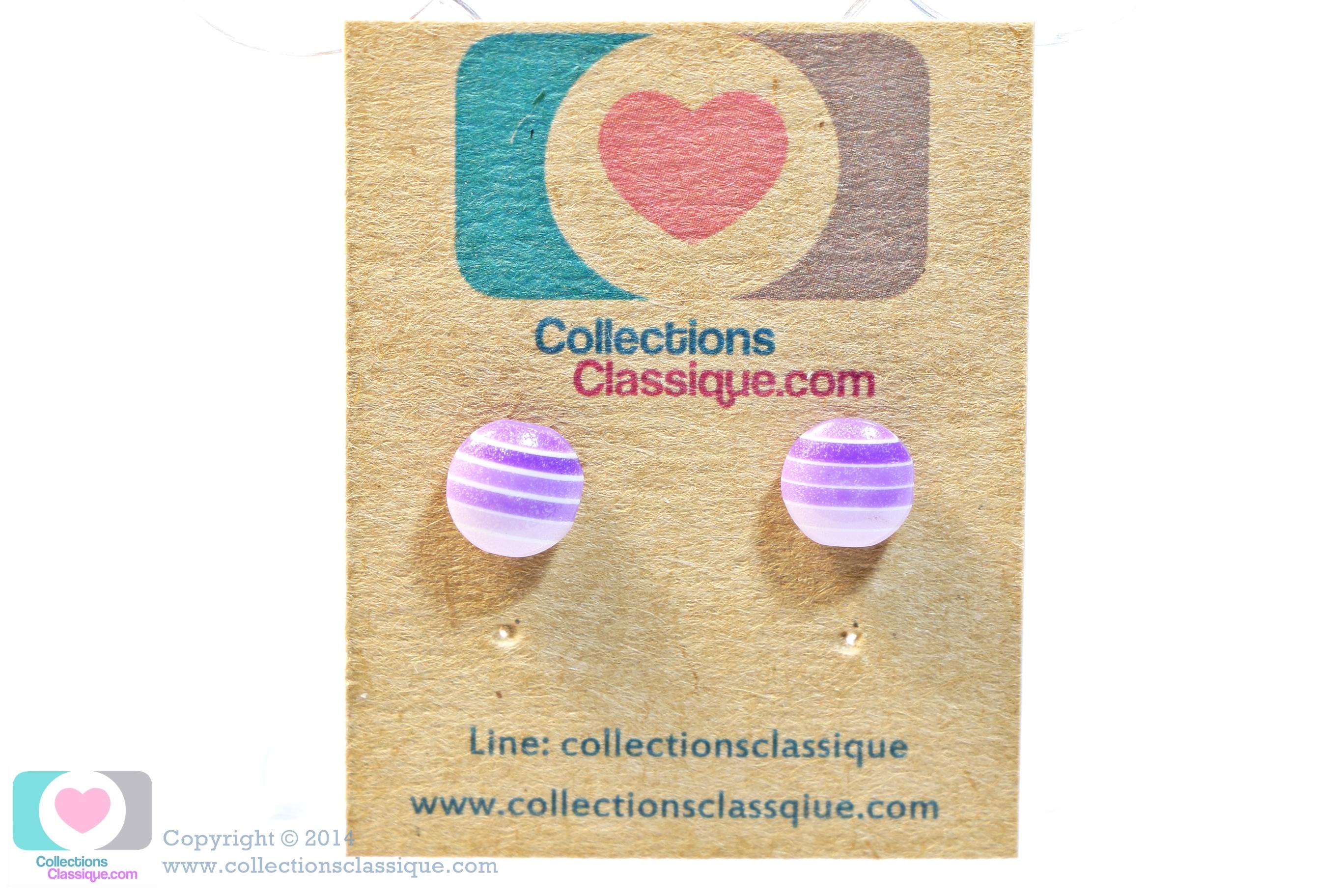 ต่างหูพลาสติก,ต่างหูก้านพลาสติก,ต่างหูเด็ก E29027 The Purple Circle