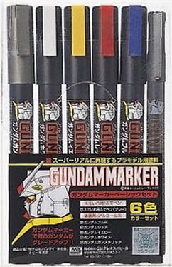 ชุด GUNDAM MARKER GMS105 Basic COLOR PEN SET 6pcs