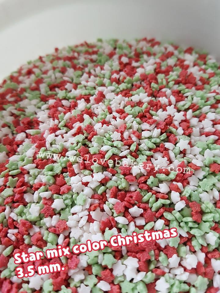 น้ำตาลแต่งหน้าเค้ก Sprinkles ลายดาว โทนคริสมาร์ต 3.5 มิลลิเมตร