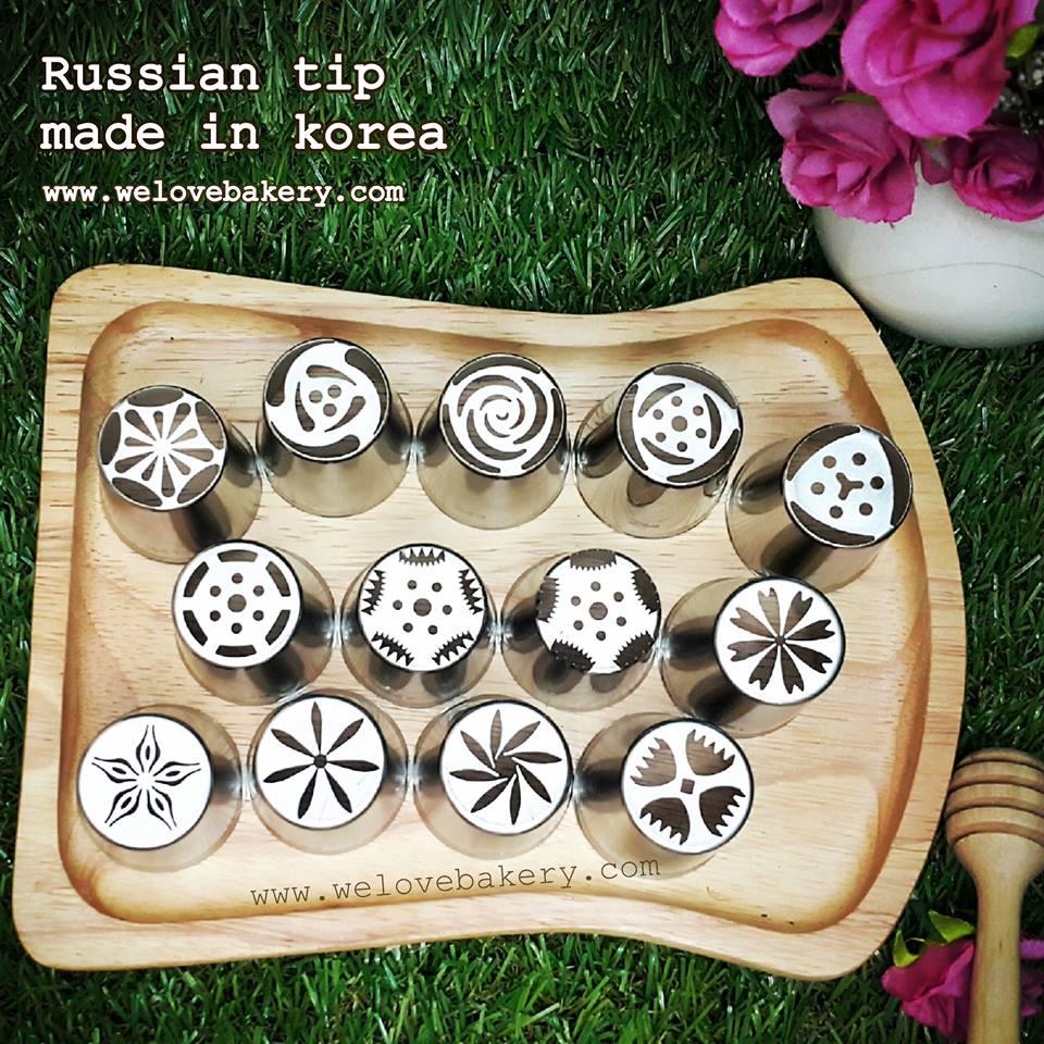 หัวบีบครีม Russian tip เกาหลี หน้ากว้าง 2.6 เซนติเมตร 13 หัว (แถมหัวใบไม้ 352+น็อตจัมโบ้+ถุงบีบพลาสติก5ใบ))