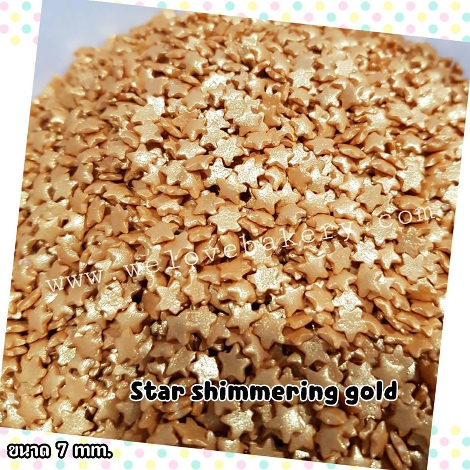 น้ำตาลแต่งหน้าเค้ก Sprinkles ลายดาวทอง 7 มิลลิเมตร
