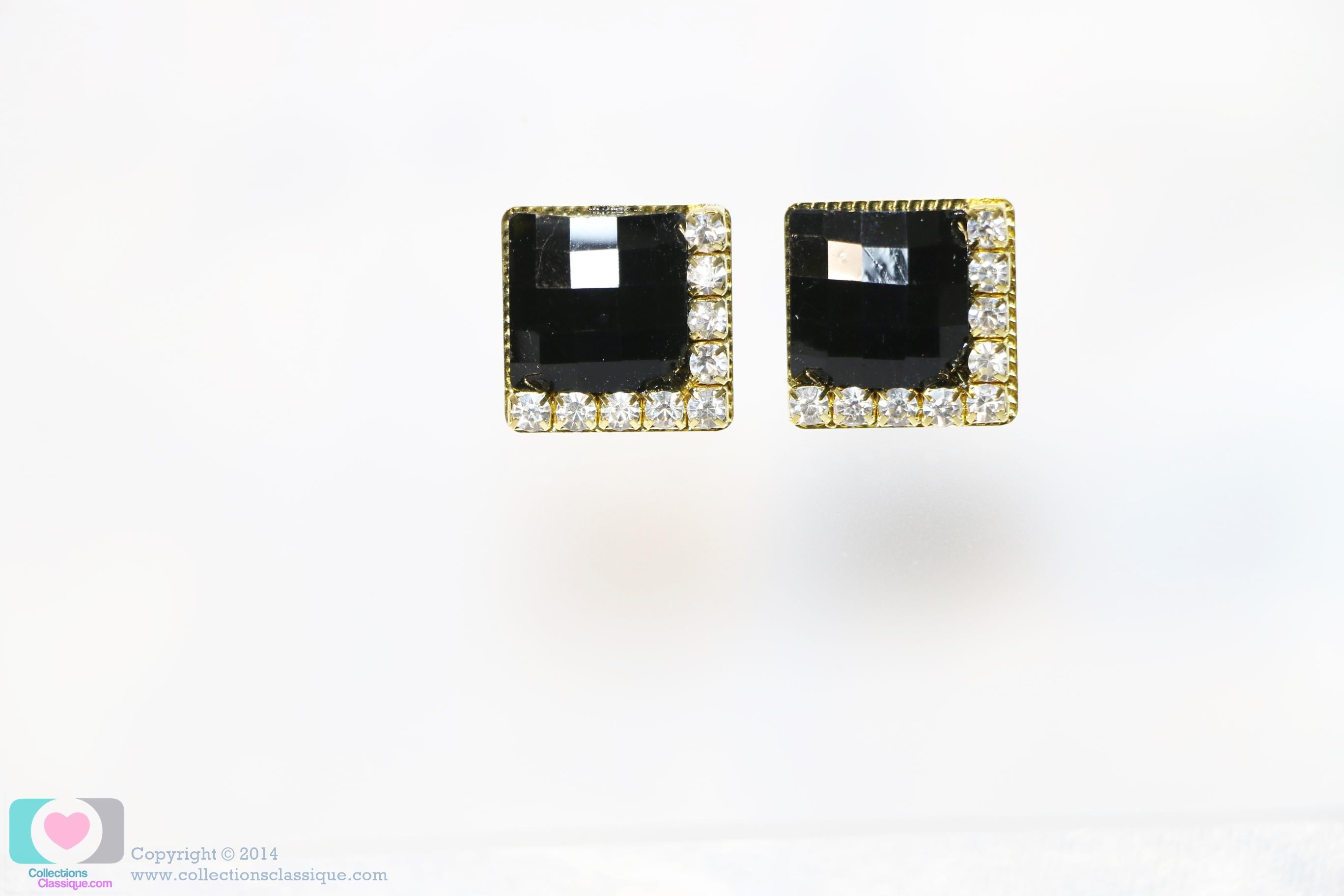 E99032 The Black Gems ตุ้มหูแฟชั่น