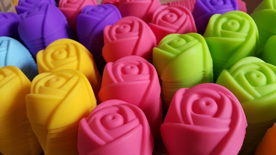 พิมพ์ยางซิลิโคน แบบแยก ลายดอกกุหลาบ 5 cm.(ต่อโหล)