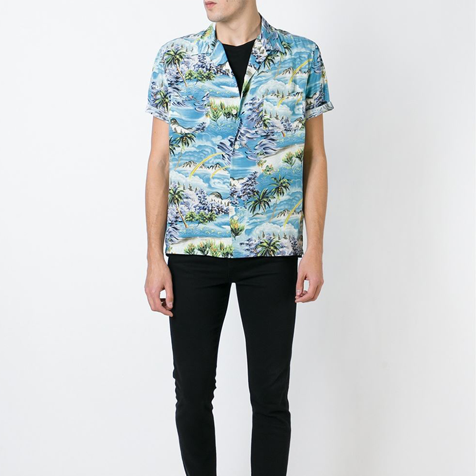 เสื้อเชิ้ตแขนสั้นSAINT LAURENT - Hawaii Shirt 1:1