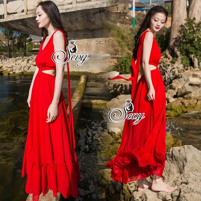 Ribbon Shoulder Sexy Waist Back Red Hot Maxi Dress