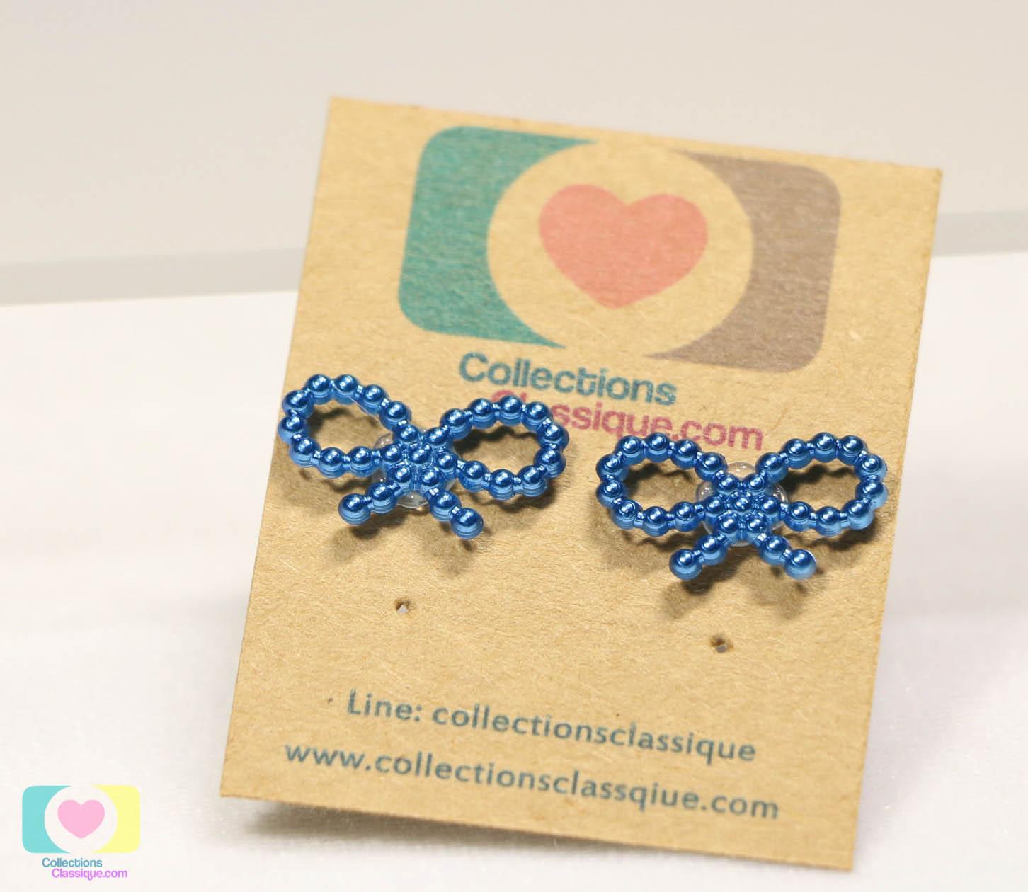 ต่างหูพลาสติก,ต่างหูก้านพลาสติก,ต่างหูเด็ก E29020 The Ribbon (Blue)