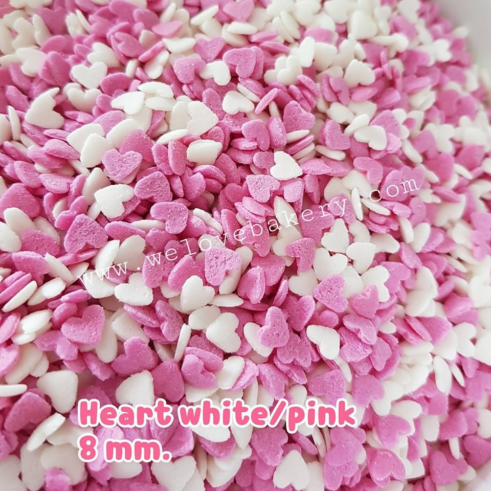 น้ำตาลแต่งหน้าเค้ก Sprinkles ลายหัวใจ ขาวชมพู 8 มิลลิเมตร