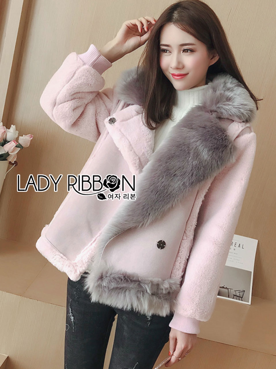 Lisa Pastel Faux Fur and Suede Jacket