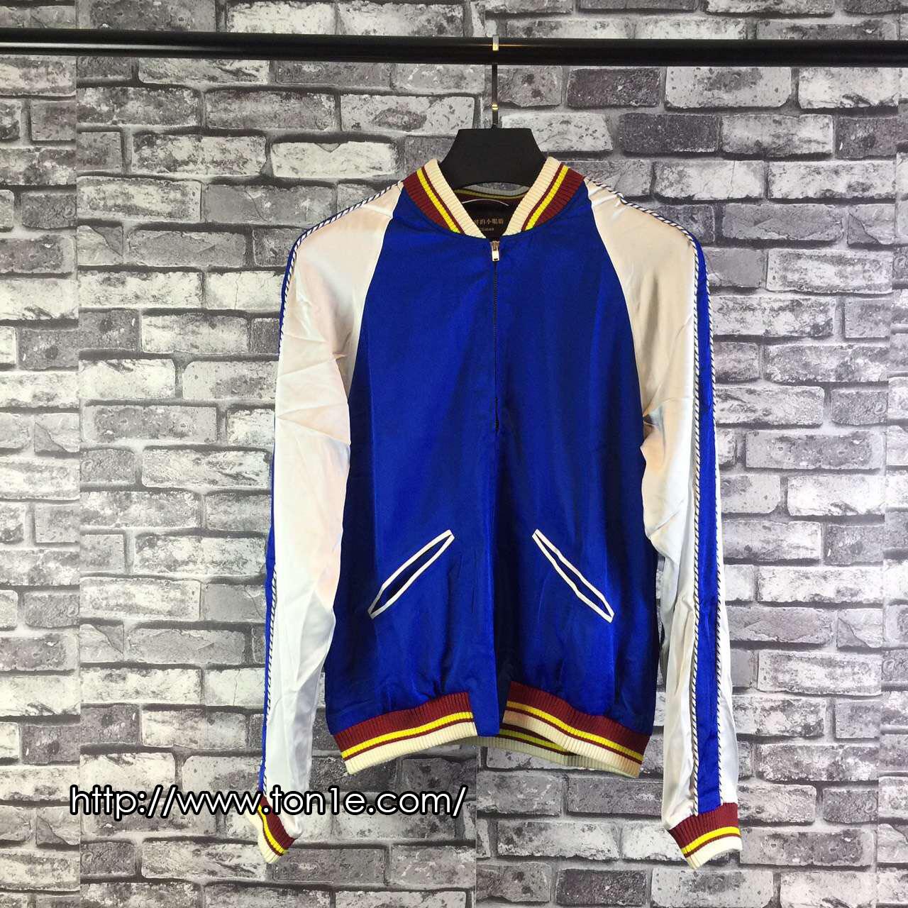 เสื้อแจ็คเก็ตSAINT LAURENT-Slik Satin In Blue Bomber Jacket