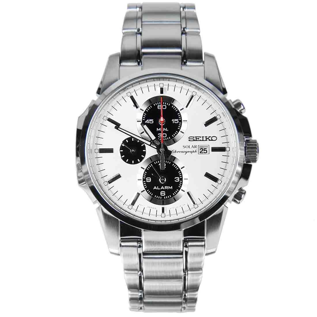 นาฬิกา Seiko White Solar Chronograph Watch SSC083P1 SSC083P SSC083
