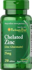 Zinc Chelated 25 mg ป้องกันผมร่วง ลดความมัน [Puritan's Pride]