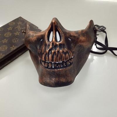 หน้ากาก กะโหลกครึ่งหน้า Cacique Skull สีทองแดง