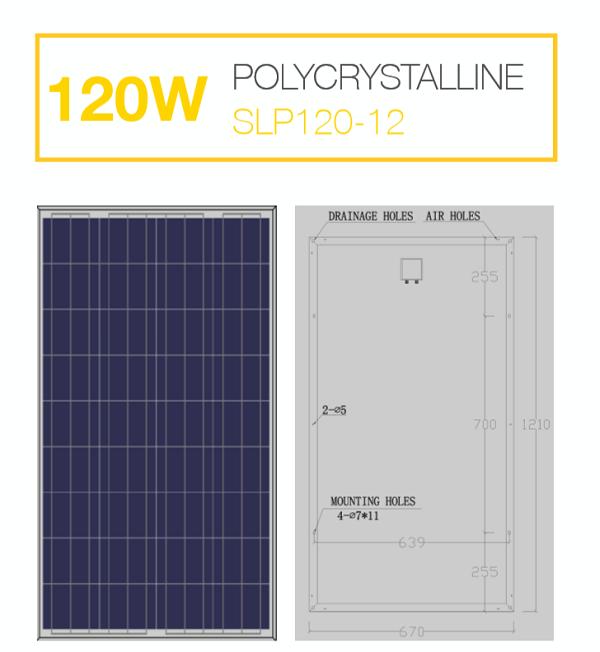 แผงโซล่าเซลล์ Solar Cell 120W Poly