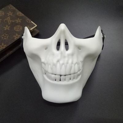 หน้ากาก กะโหลกครึ่งหน้า Cacique Skull ขาว