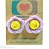 ต่างหูพลาสติก ต่างหูก้านพลาสติก ต่างหูเด็ก E29001 The Cute Purple Yellow Flowers