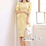 Minidress Yellow Sweet Desses Sleeveless Sweater
