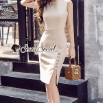 Waisty Concave Nood Color Dress