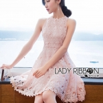 Sarah Pretty Sleeveless Embellished Baby Pink Lace Dress