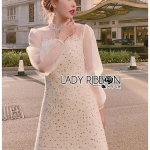 Katie Royal Feminine Lace, Organza and Tweed Dress