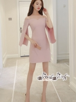 Minidress Light Pink Long Sleeve Chic Chic Dress