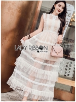 Jaimie Sweet Feminine Layered Tulle and Lace Dress