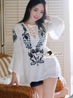 Bell Sleeve Stickly Blouse