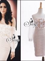 Off Shoulder Long Sleeve 3D Lace Mini Dress