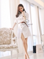 Korea Smart White Long Blouse With Brown Belt
