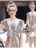Wendy Little Flower Printed Ruffle Dress with Lace