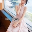 Sarah Pretty Sleeveless Embellished Baby Pink Lace Dress thumbnail 6