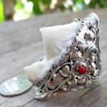 แหวนหัวกระเบนสองหัวคู่(หัวใหญ่สุด สวยสุด) สไตร์อเมริกันอินเดียน ประดับด้วยกัลปังหาแดง