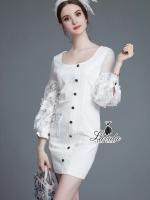 pretty stitching sleeve lace lantern cuff white dress