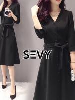 V-Neck Classy Black Ribbon Waist Dress