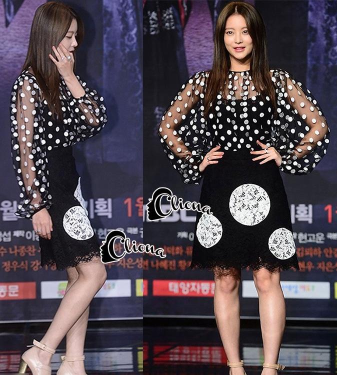เสื้อผ้าเกาหลีพร้อมส่ง โอยอนซอกับเซ็ตเสื้อซีทรูสีดำลายวงกลมๆทั้งตัว