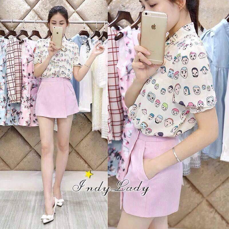 เสื้อผ้าเกาหลี พร้อมส่งงานเซตน่ารักโดนใจตัวเสื้อทรงเชิ้ตคอมีโบผูก