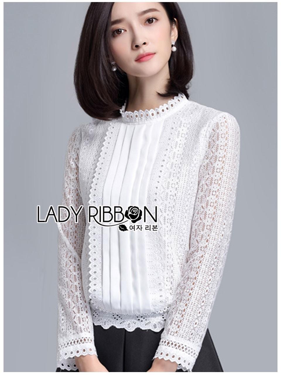 เสื้อผ้าเกาหลีพร้อมส่ง เสื้อผ้าลูกไม้สีขาวสไตล์เบสิกตกแต่งผ้าแถบ