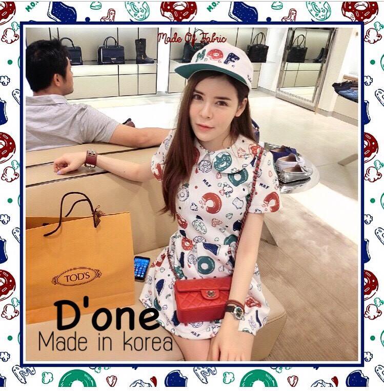 ชุดเดรสเกาหลี พร้อมส่ง Dress mof รุ่นนี้มาพร้อมคอปกและแขนสั้นคร้า กระโปรงตัดเป็นจีบใหญ่ๆรอบๆตัว